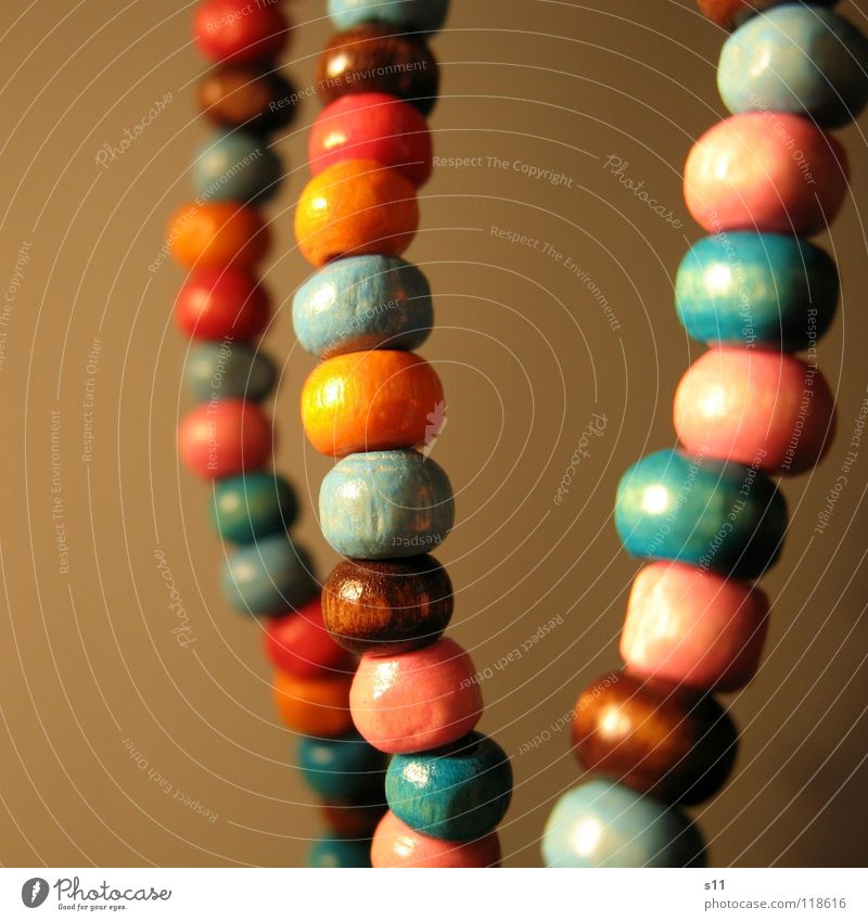 ornamental Luxury Decoration Jewellery Wood Blue Brown Pink Pearl necklace Wooden bead Neck Chain Orange distortion Close-up Macro (Extreme close-up)