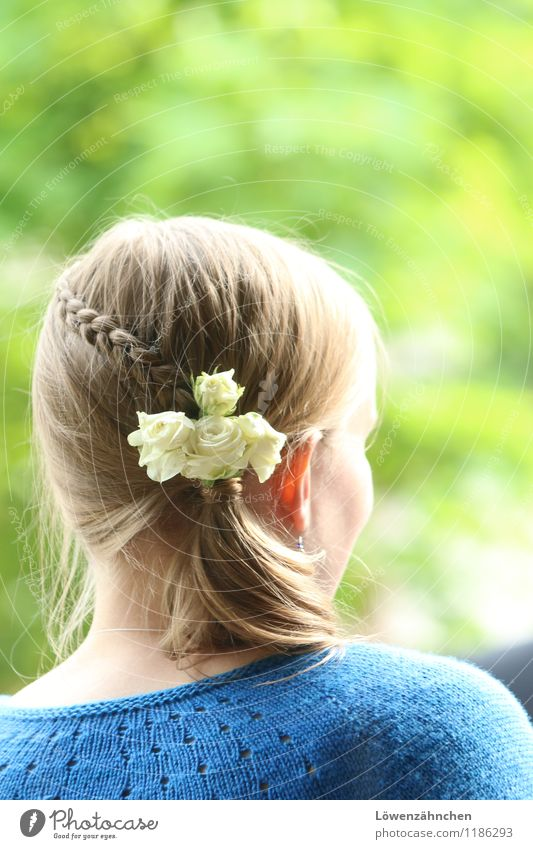 wedding details V Feminine Young woman Youth (Young adults) Head Hair and hairstyles 18 - 30 years Adults Rose Cardigan Accessory Blonde Braids Looking Esthetic