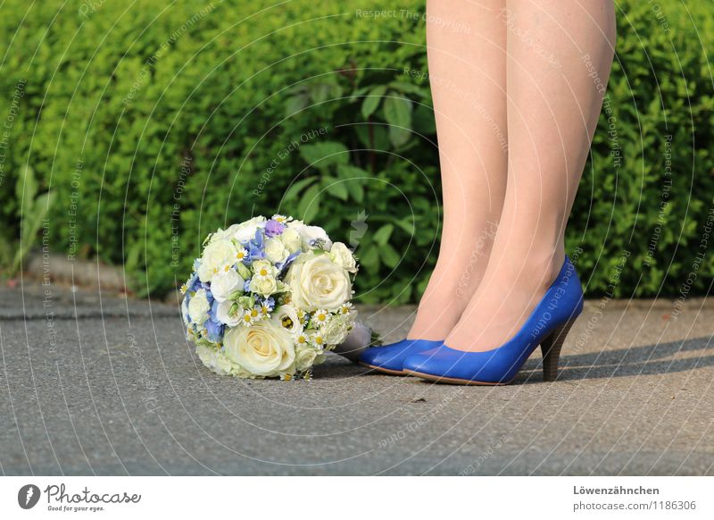 wedding details III Feminine Young woman Youth (Young adults) Legs Feet 18 - 30 years Adults Footwear High heels Bouquet Stand Wait Esthetic Beautiful Blue