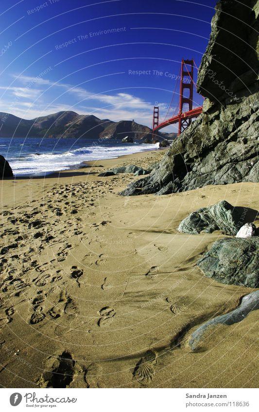 Ocean Beach Vacation & Travel Sand Bridge California Footprint San Francisco Golden Gate Bridge