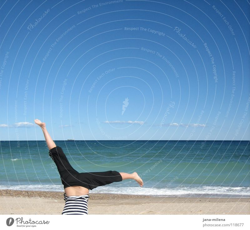 Yeah... :-) Ocean Clouds Summer Autumn Beautiful weather Beach Vacation & Travel Spain Go crazy Handstand Pants Air Inverted Opposite Striped Convict