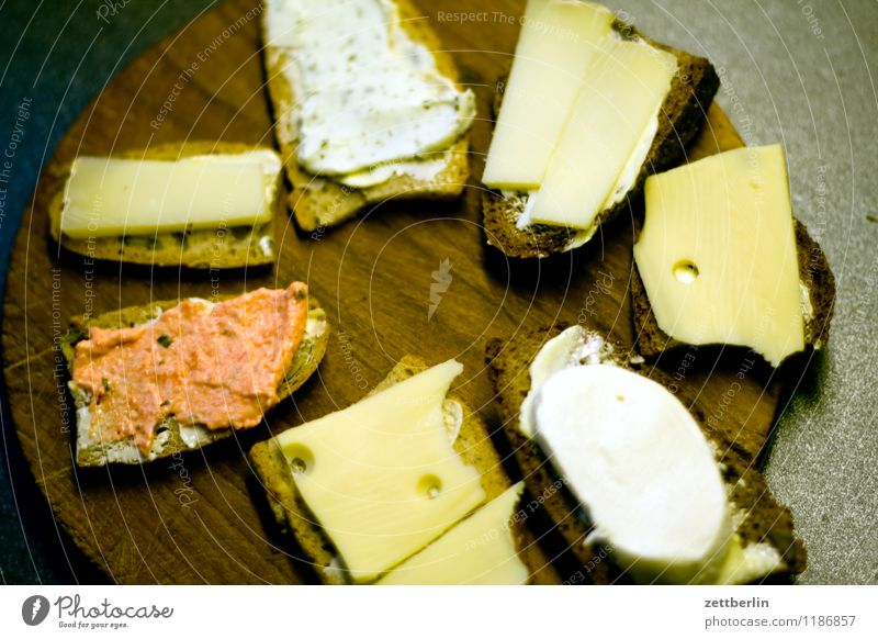 Seven canapés Healthy Eating Dish Food photograph Nutrition Vegetarian diet Bread Sandwich slice Buffet Cheese Sliced cheese Dairy cream Dip Chopping board