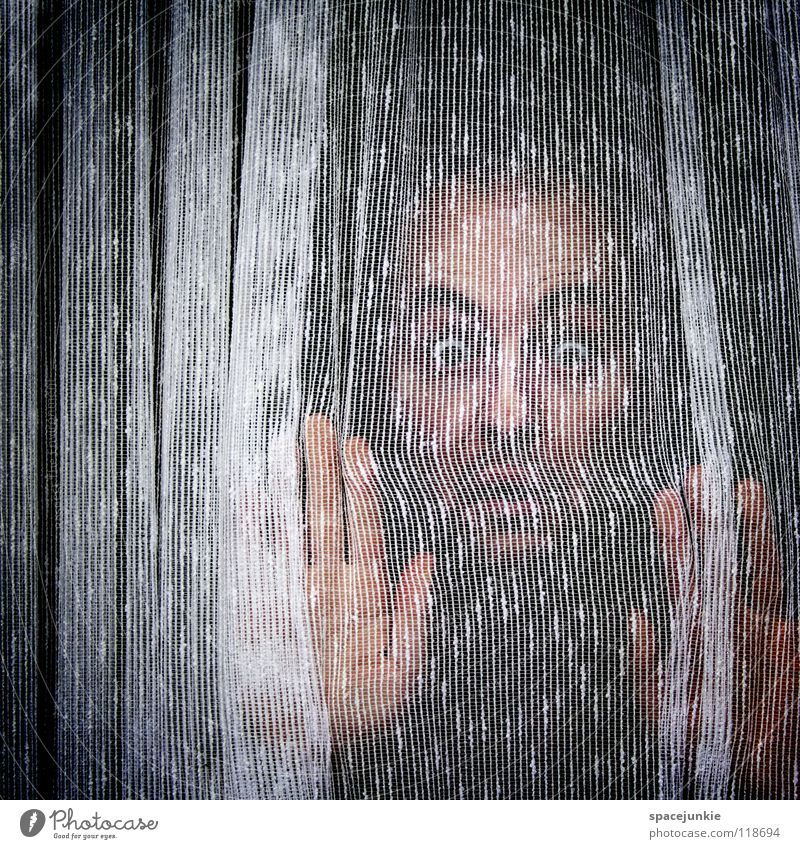 Behind the curtain of life Man Portrait photograph Curtain Drape Window Cloth Screening Hang Horror Looking Private Human being Petit bourgeois Flat (apartment)