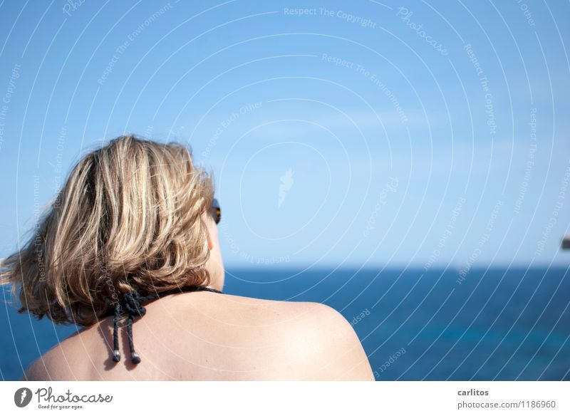 A ship will come .... Woman Ocean Horizon Far-off places Vantage point Blue Vacation & Travel Mediterranean Majorca Hair and hairstyles Wind Blow Refreshment