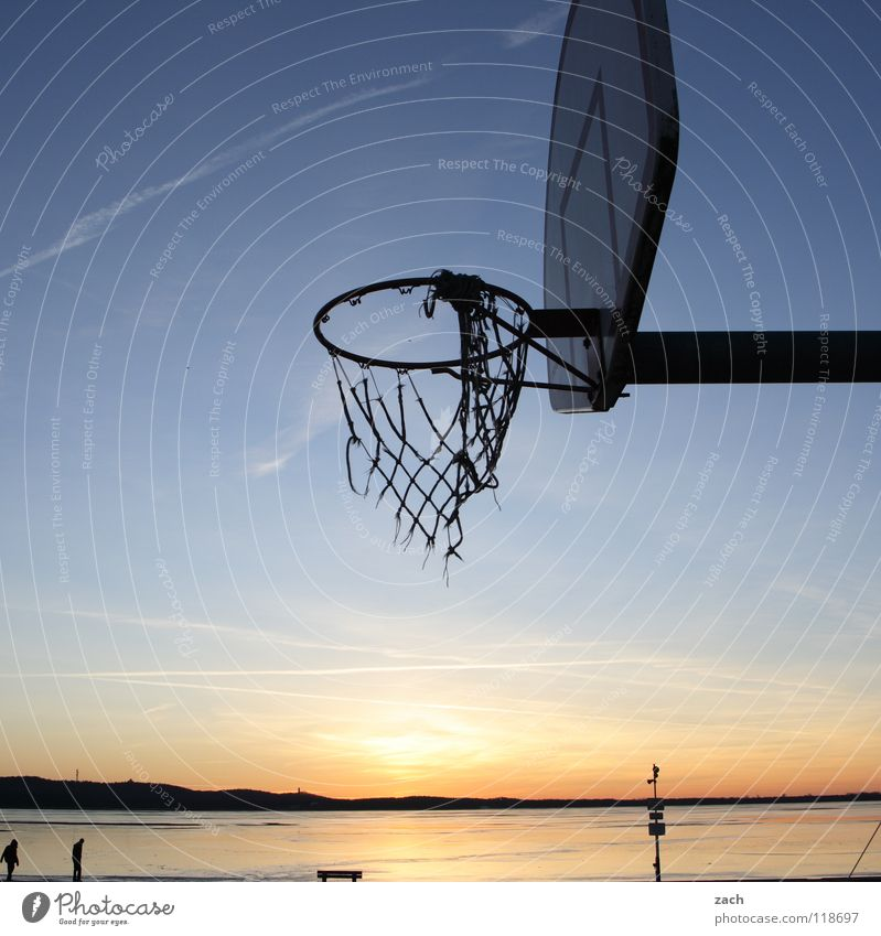 basket case Basketball Basketball basket Sports Beach Sunset Lake Water Playing Throw Back-light Twilight Shadow Reflection