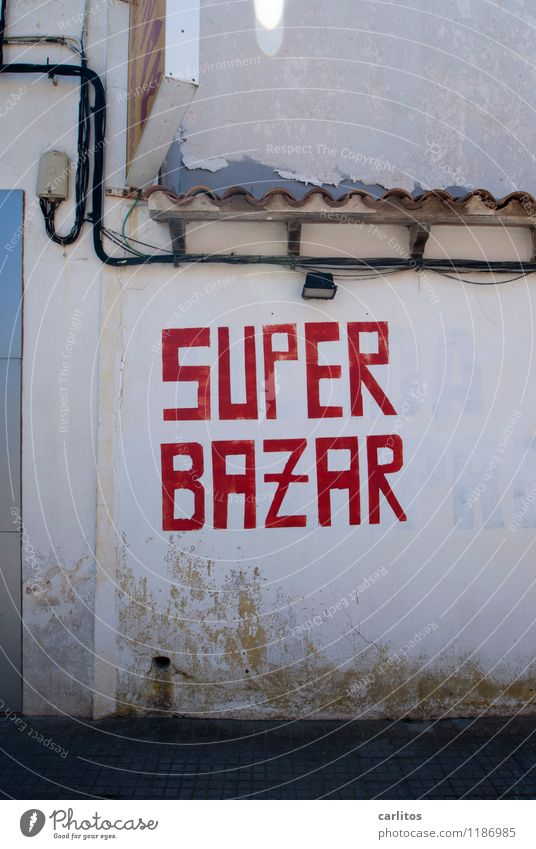 SUPER? Great Bazaar Grab a bargain Shopping Sell Supermarket Markets Trade Commerce Characters Red Wall (building) Roof Lamp Cable Mediterranean Majorca
