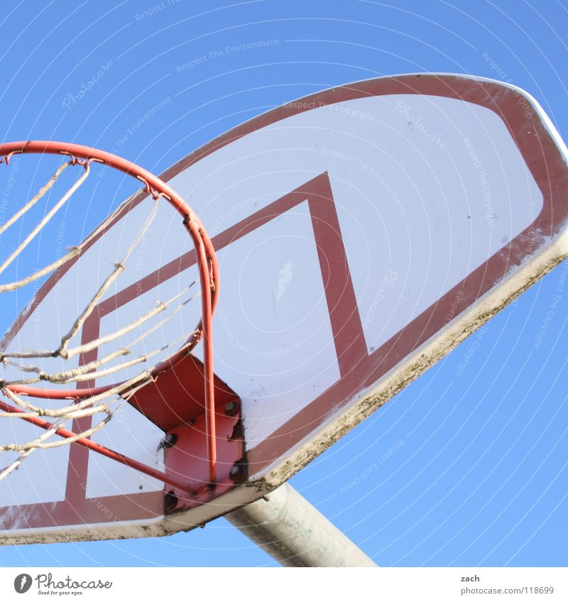 Basketcase II Playing Sports Ball sports Throw Blue Basketball basket Colour photo Exterior shot Deserted Copy Space top Day Worm's-eye view