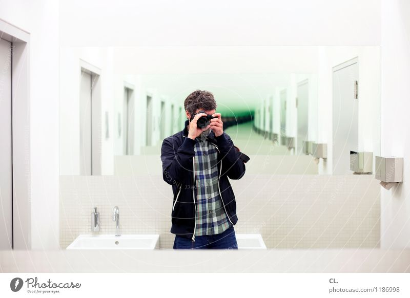 mirror image Human being Masculine Man Adults Life 1 30 - 45 years Mirror image Single-lens reflex camera Observe Uniqueness Identity Inspiration Creativity