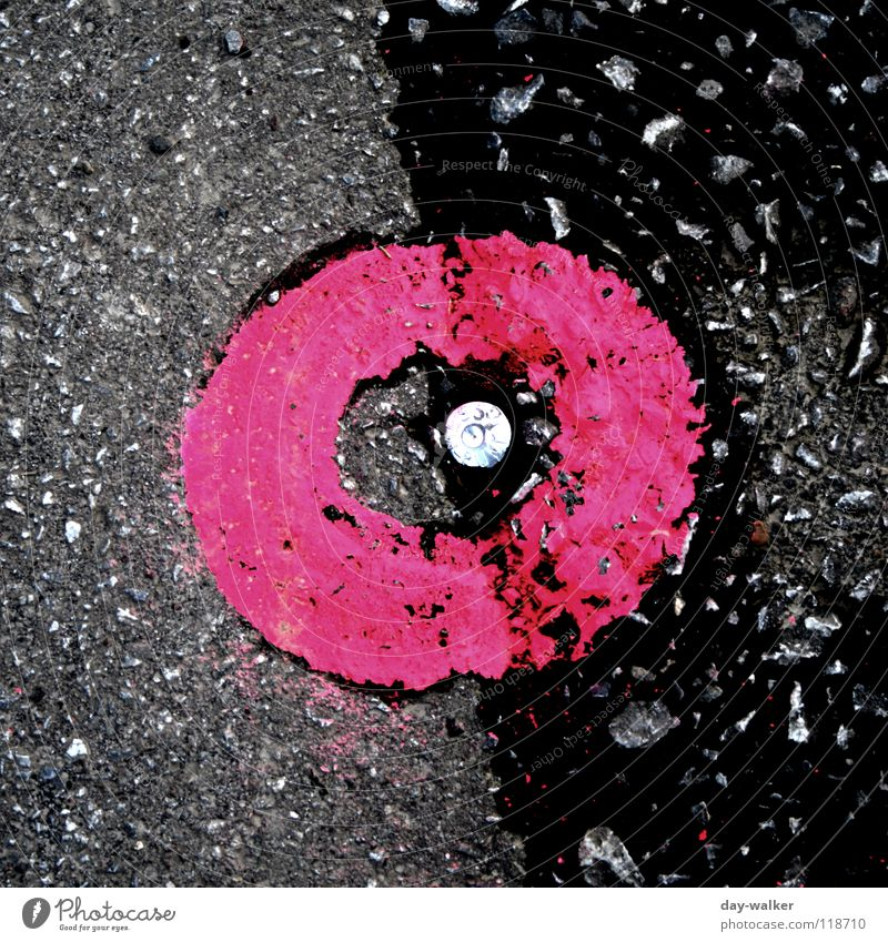 Street Colour Dark Stone Line Bright Feasts & Celebrations Metal Pink Signs and labeling Concrete Circle Round Asphalt Point Signage