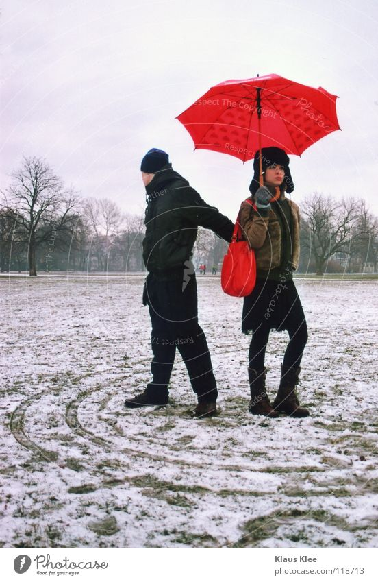 Winter Love Far-off places Snow Park Circle Kissing Umbrella Dresden Touch Boredom Hatred Intimacy Caresses Defensive