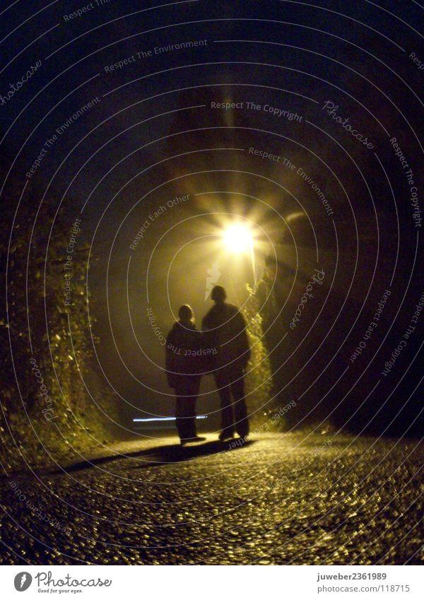 Beautiful Dark Couple Rain Together In pairs Romance Trust Lantern Damp