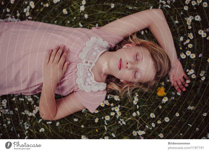 Human being Child Nature Green Summer Relaxation Flower Calm Girl Meadow Grass Feminine Garden Pink Park Dream