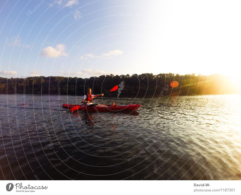 On the water on the way Sports Aquatics Sportsperson Human being Masculine Young man Youth (Young adults) Man Adults Life 1 Environment Nature Landscape Water