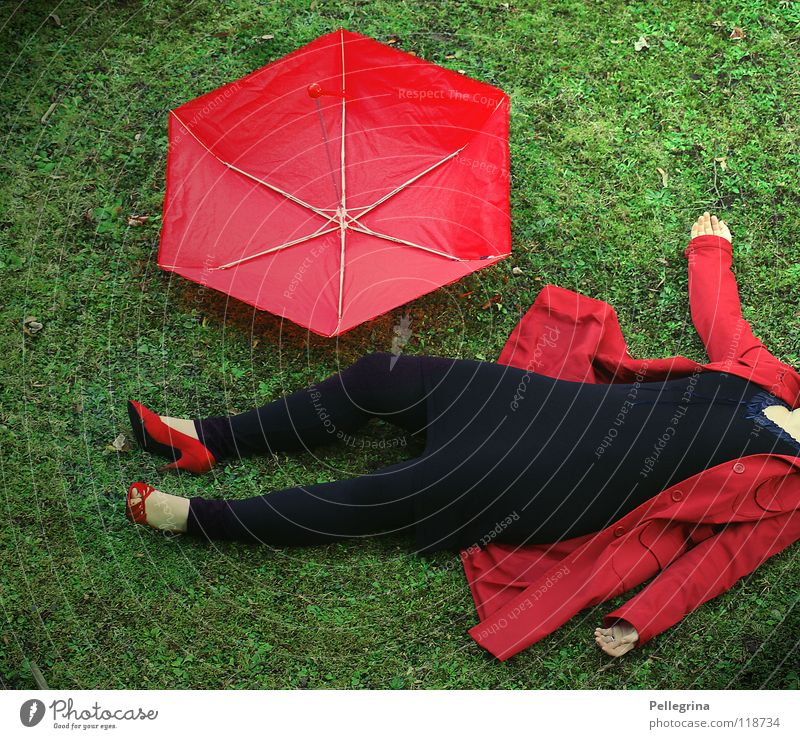 Lady in Red Coat Grass Jacket High heels Footwear Motionless Woman Hand Criminality Cold rengenschrim leggings Floor covering Sheath stricken Wind Lie