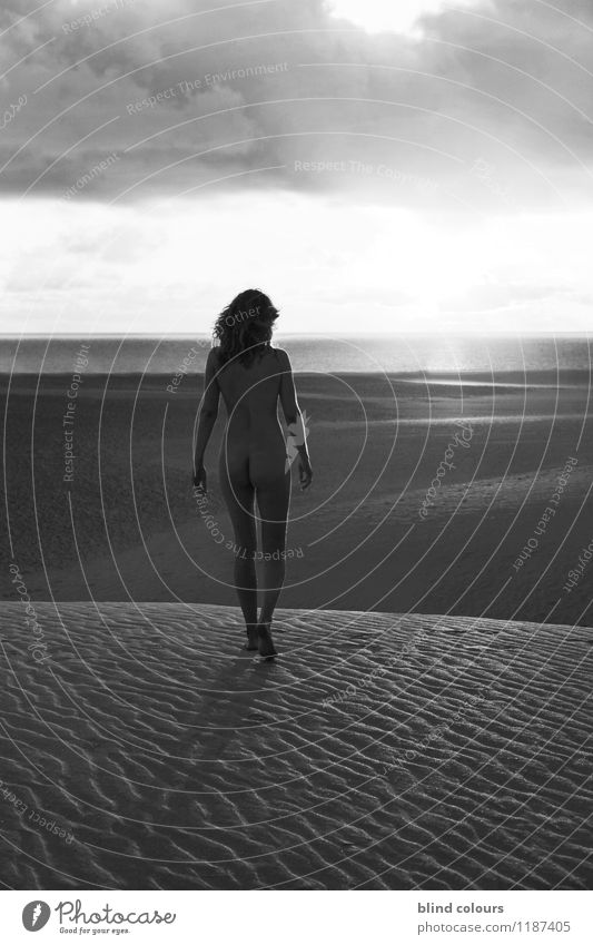 Woman Naked Summer Female nude Ocean Clouds Far-off places Freedom Art Sand Contentment Walking Esthetic Future Desert Dune