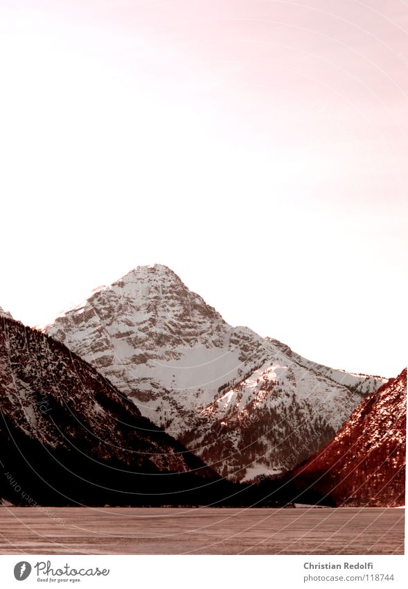 Sky Red Winter Landscape Snow Mountain Lake Ice Alps Snowscape Ice-skating Mountain lake