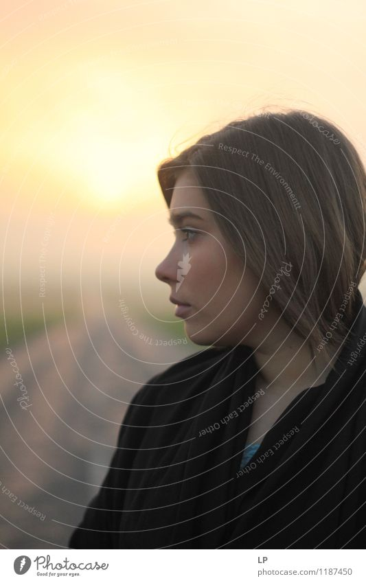 a profile Human being Youth (Young adults) Beautiful Young woman Far-off places Life Warmth Sadness Emotions Feminine Hair and hairstyles Moody Lifestyle Fashion Dream Contentment