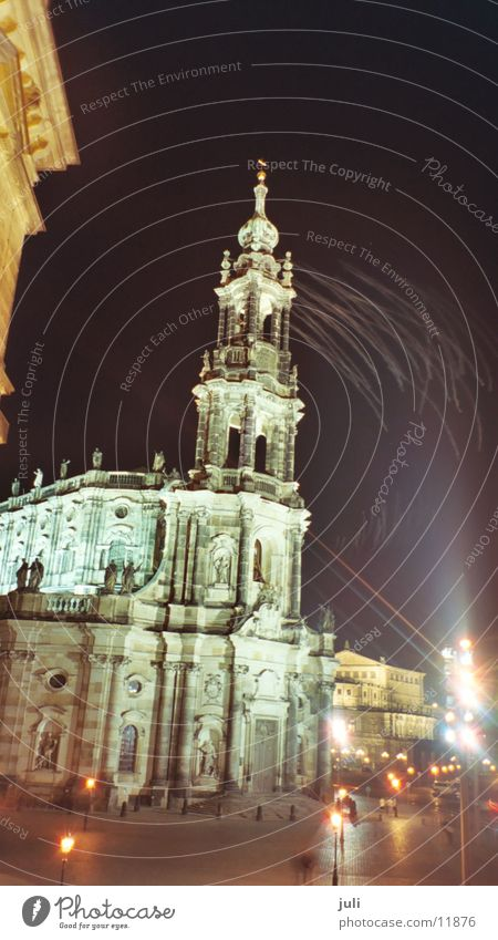 Cathedral in Dresden Night Light Long exposure Dark House of worship Religion and faith