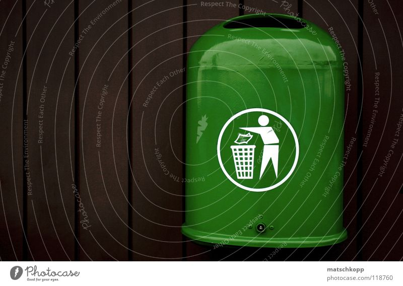 Trash? Trash container Pictogram Green Gaudy Brown Dark brown Fresh Wood Stripe Black Air Cold Winter Glittering Screw Opening Hang Signs and labeling Trashy