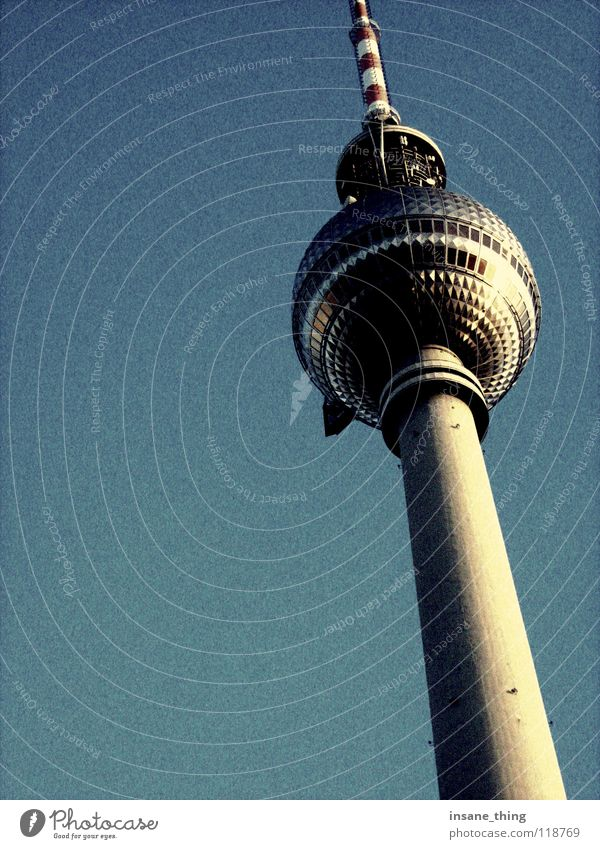 TV tower. Alexanderplatz Art Large Landmark Monument Berlin TV Tower Sky Blue Tall Tourist Attraction Television