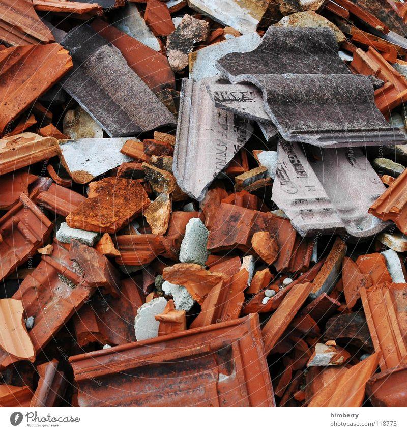 scherbencase.de Roof Roofing tile Roofer Brick Shard Broken Scrap metal Trash Building rubble Dismantling Obscure Stone Minerals raspberryoni Construction site