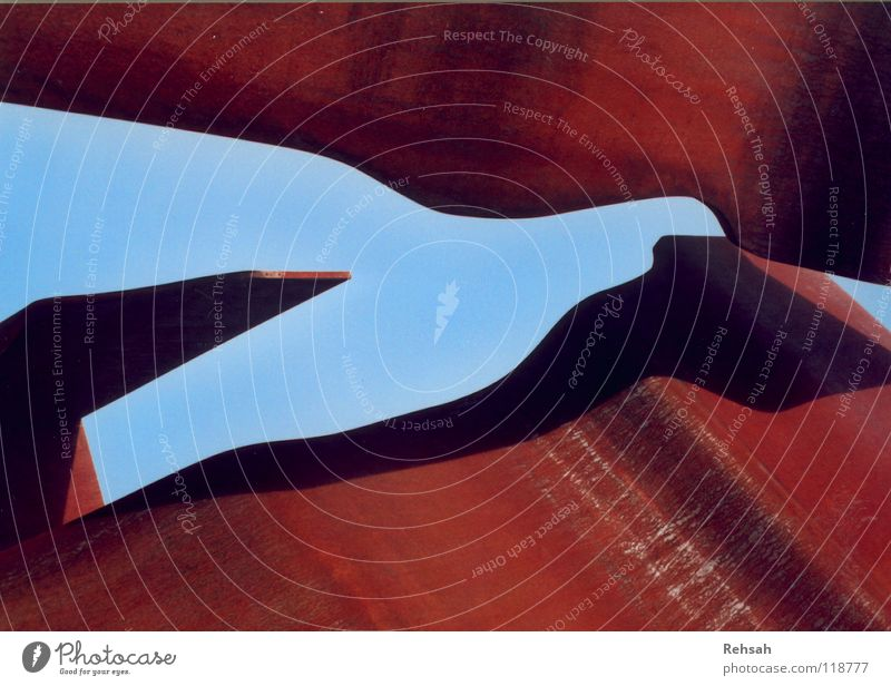 Nature Beautiful Old Sky Blue Red Dark Cold Line Bright Metal Waves Art New Technology Round