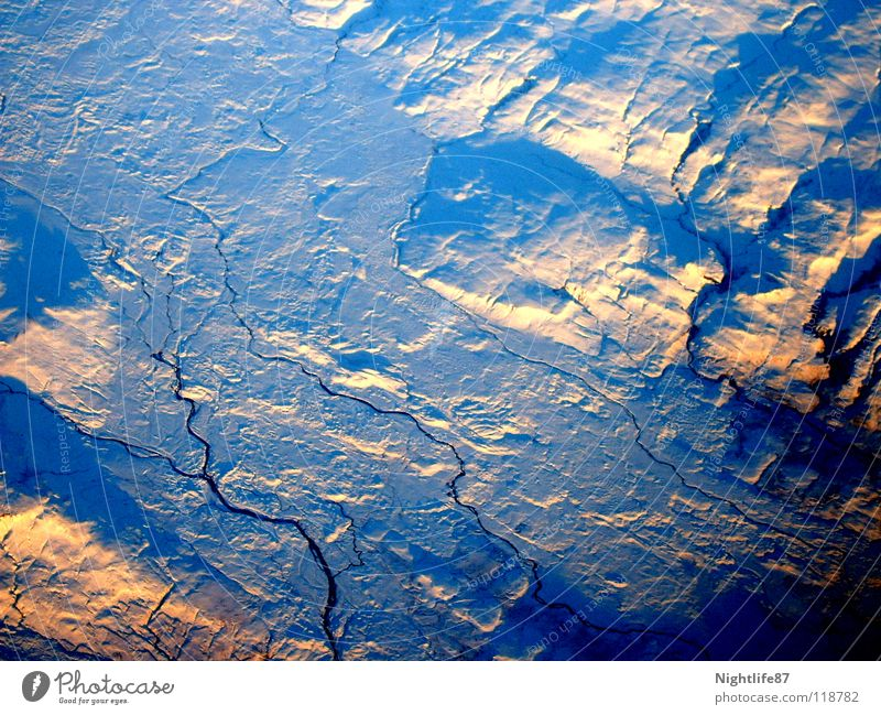 Water Ice Airplane River Frozen Crack & Rip & Tear Glacier Iceberg Cervasse Frozen surface Greenland Antarctica The Arctic