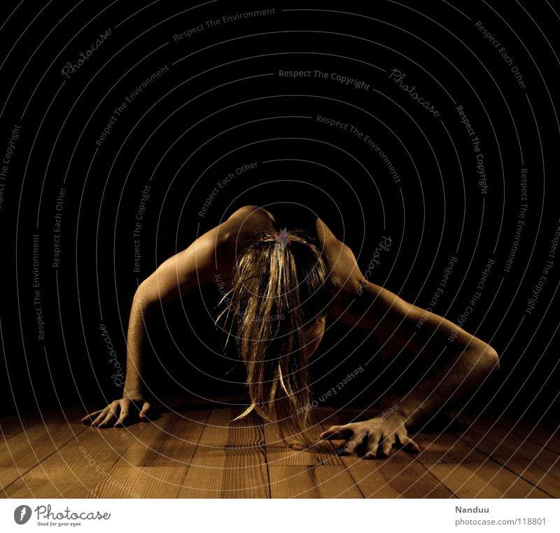 on Distend Warming up Woman Dark Hand Shoulder Ponytail Supple Under Small Strange Parquet floor Creepy Horror film Exhaustion Fatigue Fitness Power Force