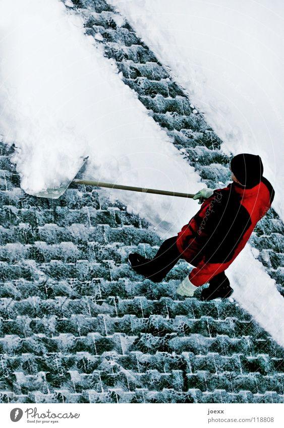 Man Winter Cold Snow Work and employment Crazy Jacket Cap Sidewalk Boredom Traffic infrastructure Cobblestones Diagonal Smoothness Controller Shovel