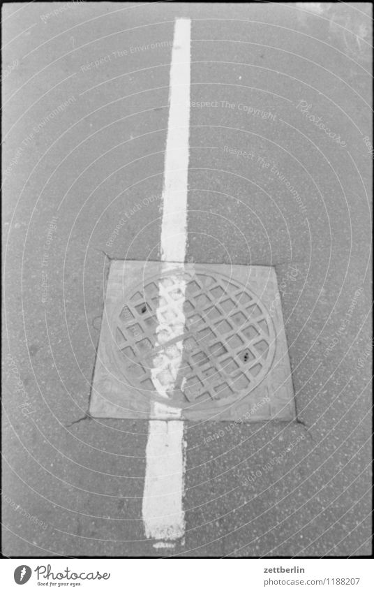 Free text space, deserted, 1984 slop dash mark Lane markings Asphalt black-and-white Line Copy Space Deserted Street Right ahead Direction Orientation