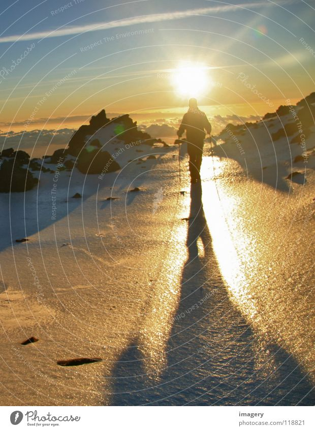 Sunrise at Teide_Part 4 Mountaineering Back-light Go up Success Snow Ice Above Sky Effort Winter sports