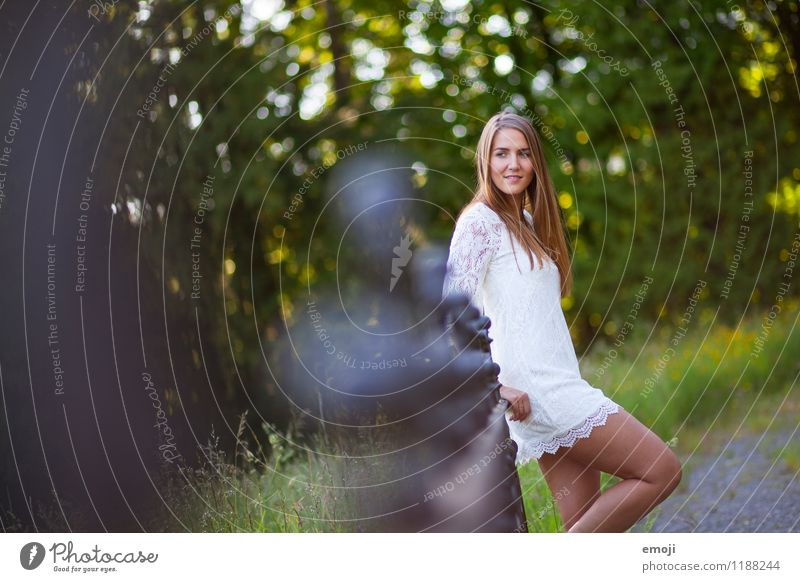 summer Feminine Young woman Youth (Young adults) 1 Human being 18 - 30 years Adults Nature Summer Beautiful weather Park Natural Handrail Colour photo
