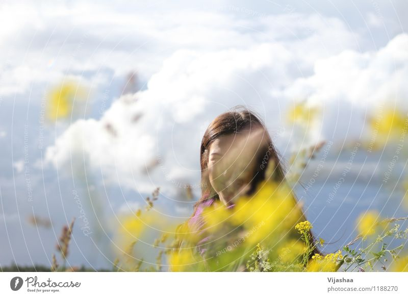midsummer Human being Sky Nature Vacation & Travel Youth (Young adults) Beautiful Summer Young woman Sun Flower Landscape Clouds 18 - 30 years Adults Environment Life