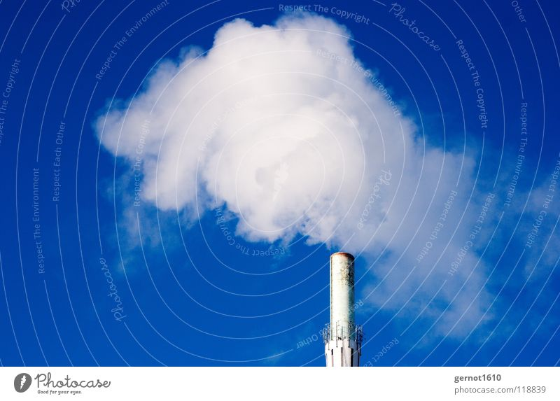 Climate Neutral II Steam Gas Production Exhaust gas Carbon dioxide Clouds White Technology Fine particles Industry Chimney Moody Sky Fog economic boom Tall Blue