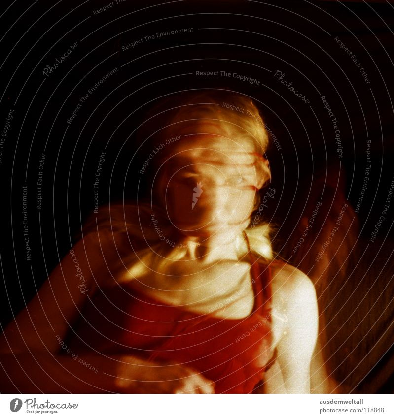 IN BETWEEN Feminine Hand Red Black Long exposure Emotions Analog Human being self Movement negative scan color Colour woman. upper body Hair and hairstyles