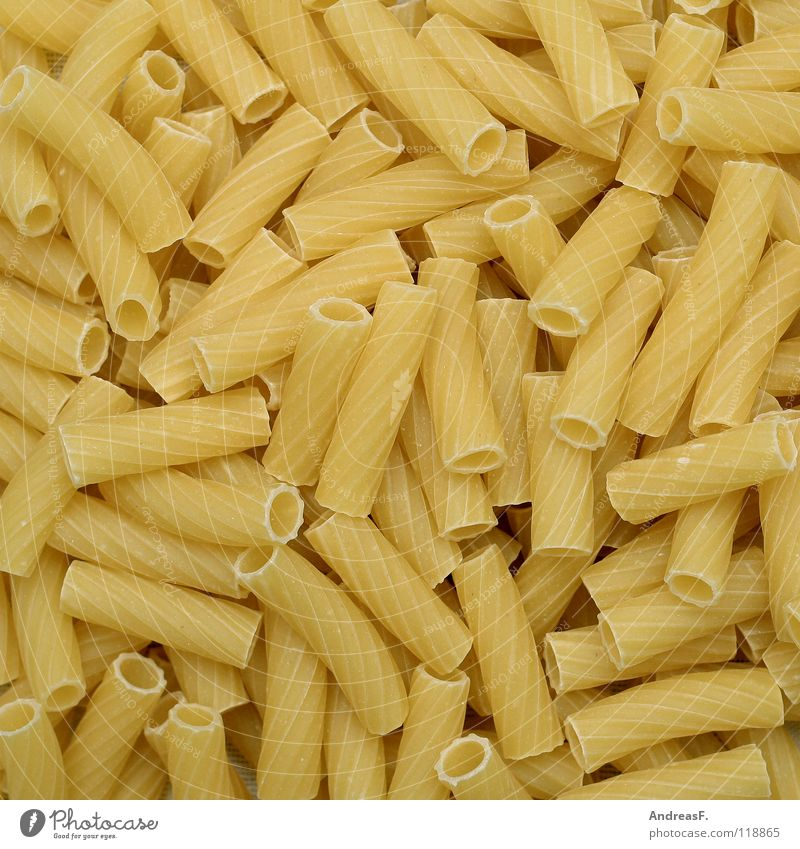 pasta Noodles Dough Carbohydrates Nutrition Fatty food Raw Hard Firm to the bite Cooking Kitchen Food Vegetarian diet macaroni Energy industry rigatoni Italy