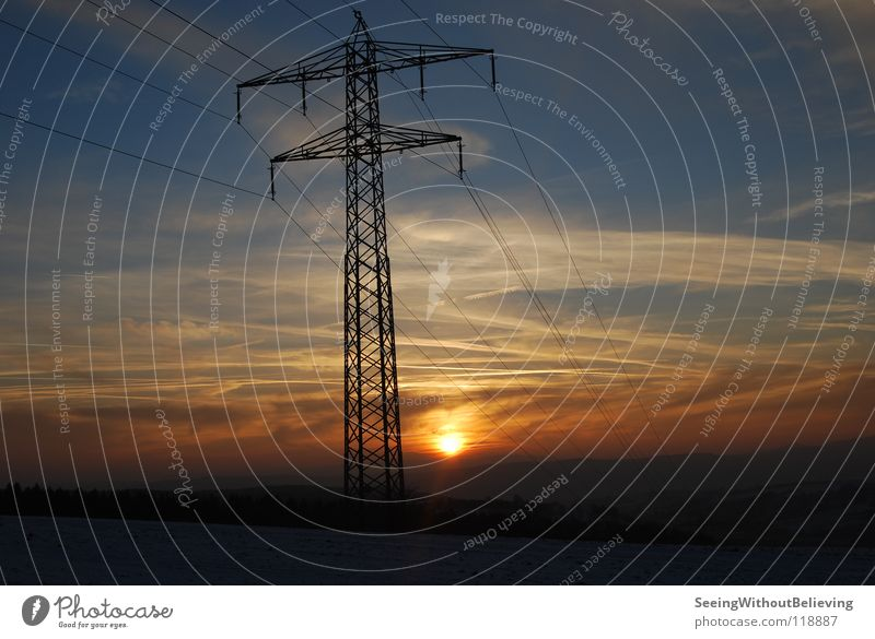 Sky Sun Winter Clouds Cable Electricity pylon Dusk