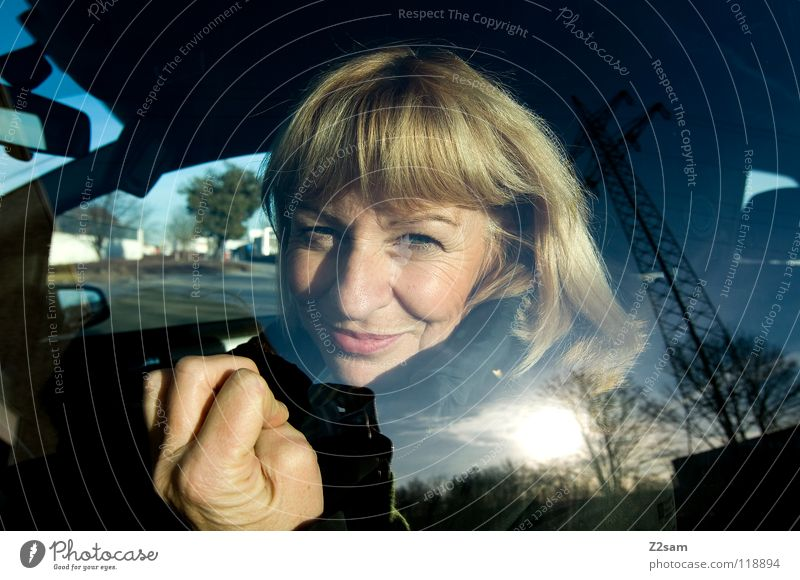 What now? Blonde Driving Window Fingers Woman Hand Portrait photograph Reflection Electricity pylon Transport Feminine Wide angle Road traffic Radiation