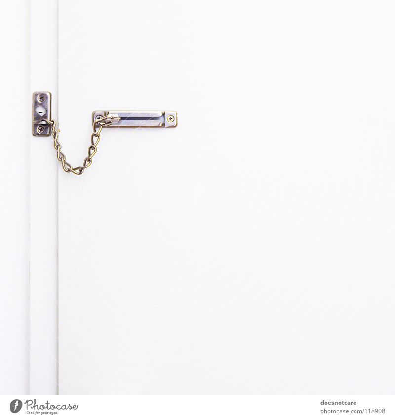 Closed. Door White Safety Protection Fear Dangerous Captured Chain Front door Door lock Colour photo Subdued colour Interior shot Deserted Copy Space right