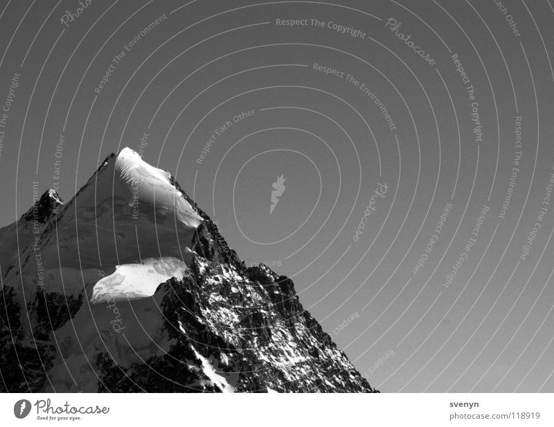 Lonely Mountain Loneliness Unwavering Engadine Peak Massive Snow Ice Gifpel Point Rock