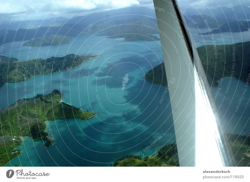 Ocean Blue Vacation & Travel Air Airplane Flying Island Wing Turquoise Fjord New Zealand Glimmer
