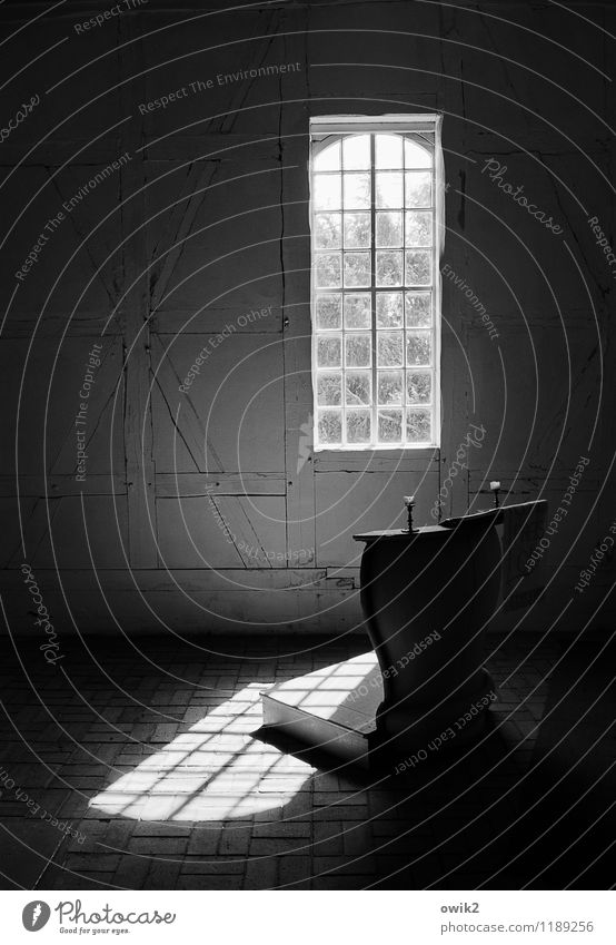 village church Church Village church Window Illuminate pulpit Church window Shaft of light Simple Timber-framed church Half-timbered facade Black & white photo