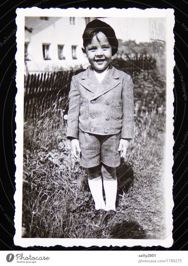 childhood memory... Masculine Child Boy (child) 1 Human being 3 - 8 years Infancy Garden Suit Jacket Sock Bermuda shorts Cap Smiling Stand Brash Friendliness