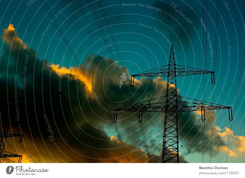 Power pylons (1,5) Electricity Electricity pylon Steel Danger of Life Clouds Sunset Storm clouds Green Twilight Half Rural Ecological Energy industry