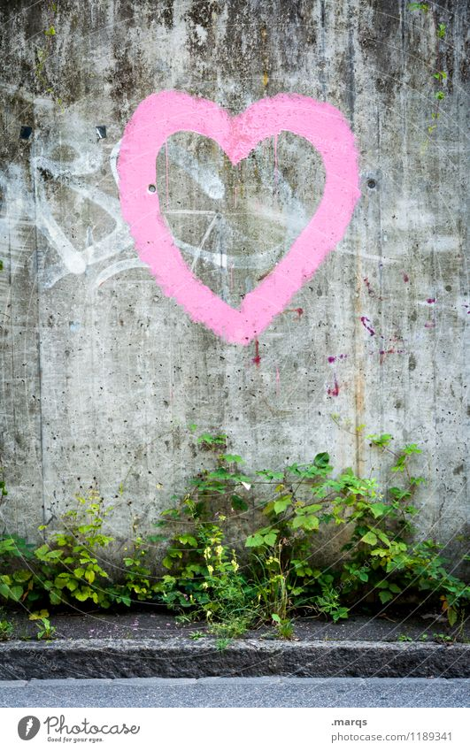 heart Style Bushes Wall (barrier) Wall (building) Street Sign Graffiti Heart Simple Beautiful Gray Pink Love Infatuation Relationship Colour photo Exterior shot