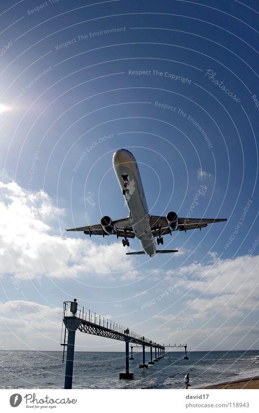 Water Ocean Airplane Large Europe Aviation Island Airport Airplane landing Runway Lanzarote