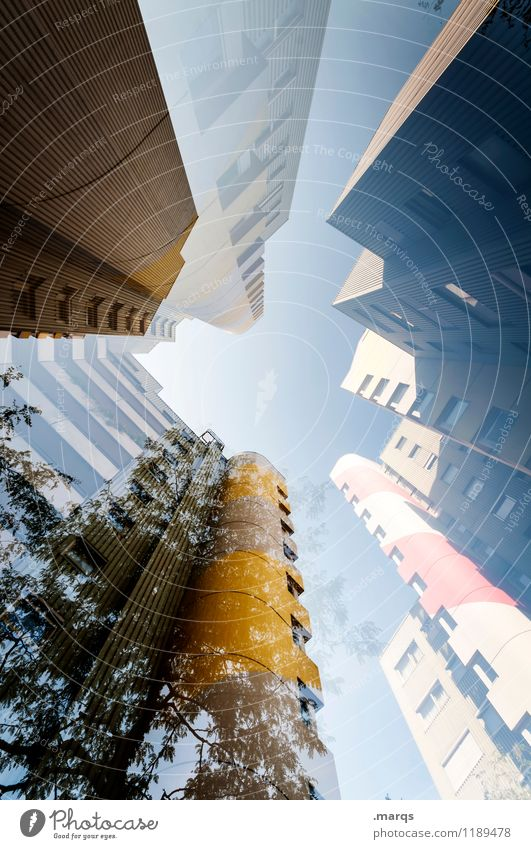 Tree Window Style Exceptional Facade Design Living or residing Modern High-rise Perspective Tall Future Cool (slang) Cloudless sky Double exposure Ambitious
