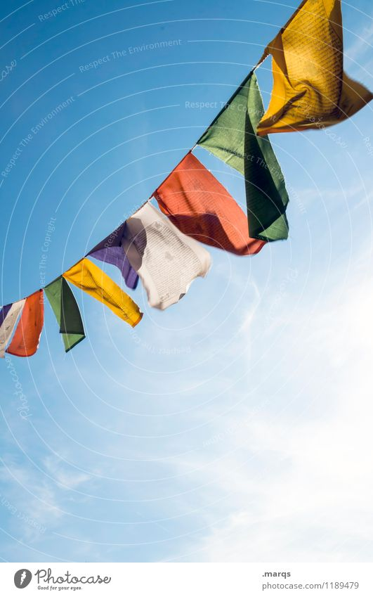 pennants Cloudless sky Beautiful weather Flag Prayer flags Hang Free Multicoloured Buddhism Religion and faith Colour photo Exterior shot Deserted