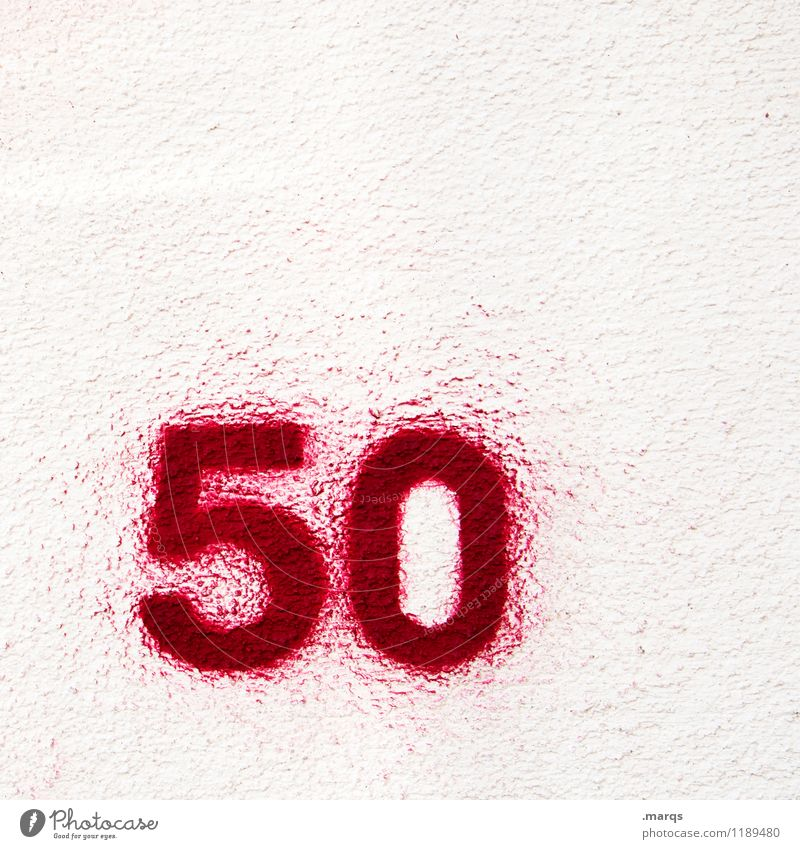 50 Birthday Jubilee Wall (barrier) Wall (building) Dye Digits and numbers Old Simple Red White Age Colour photo Exterior shot Close-up Structures and shapes