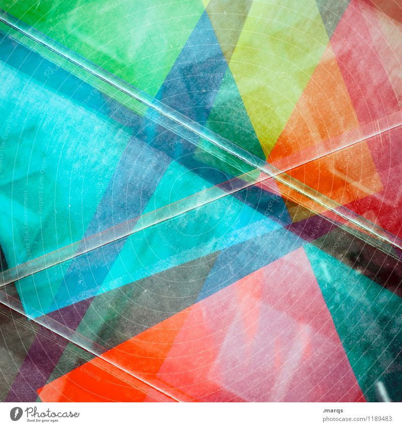 CROSSOVER Style Design Exceptional Cool (slang) Hip & trendy Uniqueness Multicoloured Colour Geometry Background picture Double exposure Colour photo Close-up